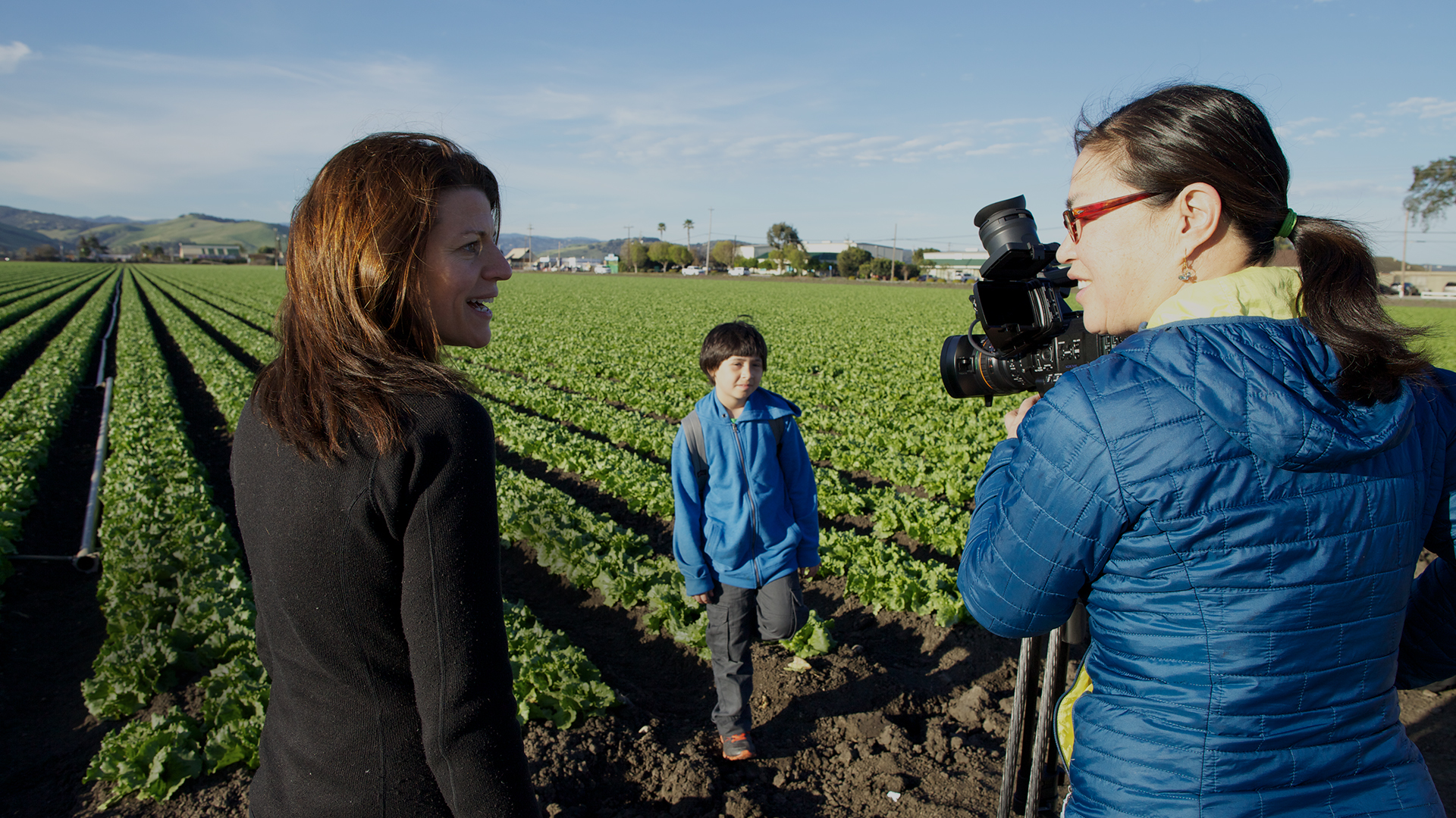 Filmmakers Laura Pacheco and Jackie Mow with Jose Ansaldo during the making of East of Salinas